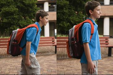 Description: comparison of bad backpack posture with good backpack posture