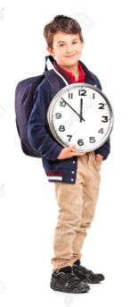 Description: school boy with a backpack holding a wall clock