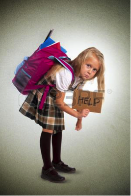 Description: girl with heavy backpack