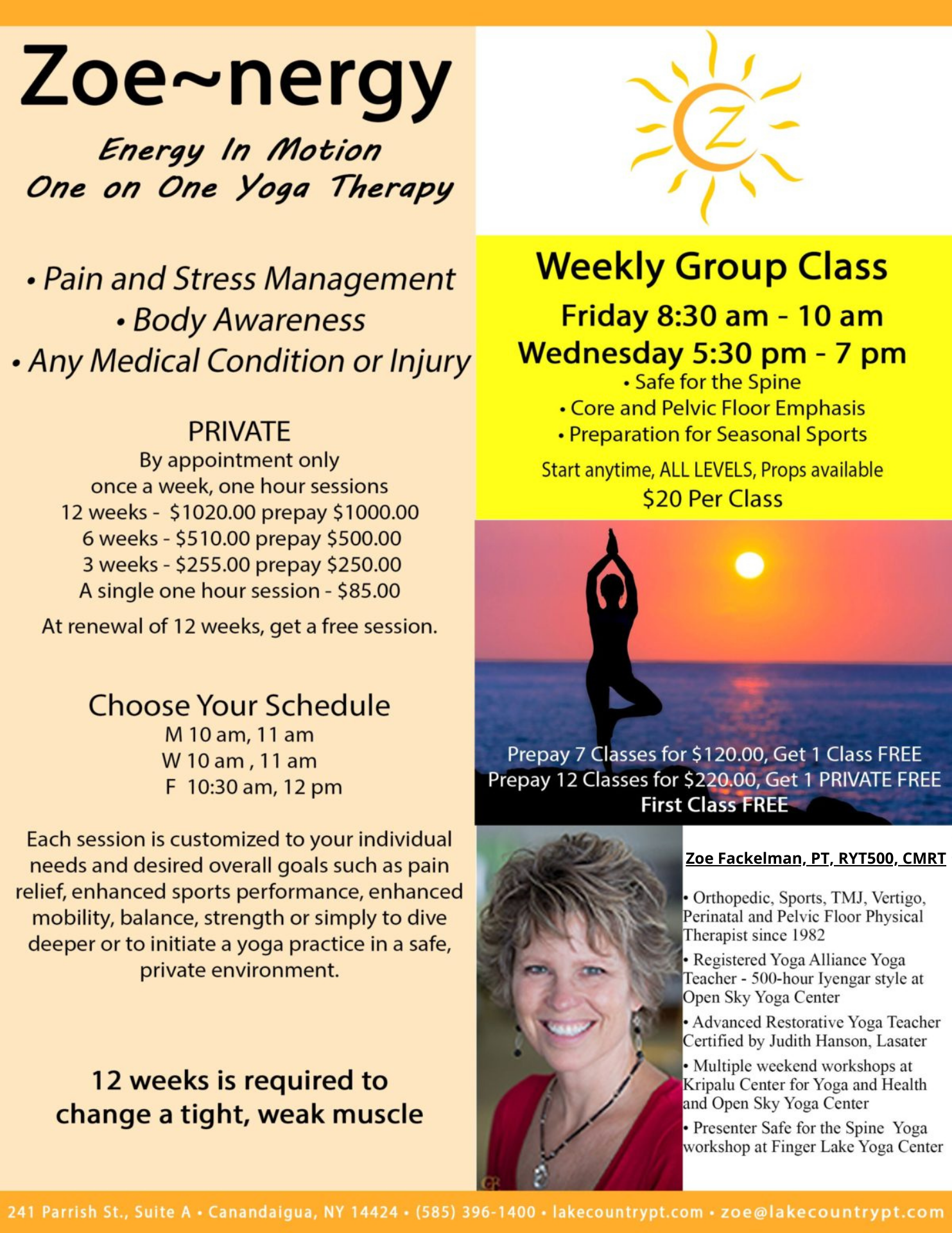 Zoe Nergy Private Yoga Instruction In Canandaigua